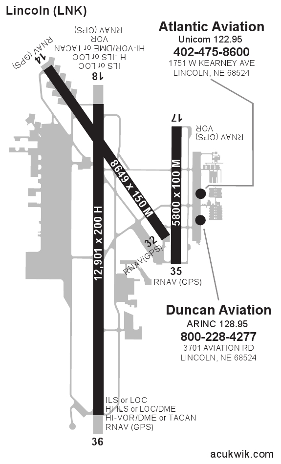 klnk  lincoln municipal general airport information